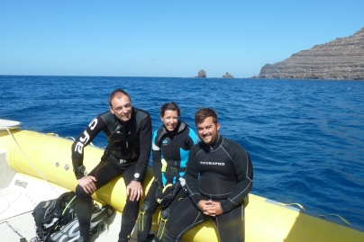 Javier Bermúdez, Eva Meyers and Bernd Müller (Reporter for the diving magazine Unterwasser)